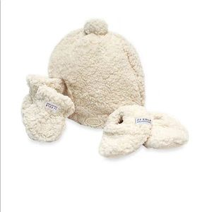 Shearling Baby Hat, Mittens and Booties Set
